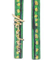 moschino women's printed leather logo belt - fantasy print green - size 90 (l)