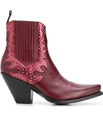 paul warmer x sendra stud-embellished ankle boots - red