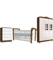 dormitã³rio lara guarda roupa 3 portas/cã´moda 4 gavetas/berã§o lara branco/amadeirado carolina baby - branco - dafiti