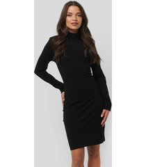 na-kd basic polo neck dress - black