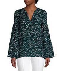 tierred sleeve animal print blouse