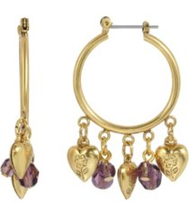 2028 women's gold tone hoop with hearts and purple beads drop earring