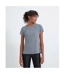 camiseta esportiva manga curta em poliamida   get over   cinza   p