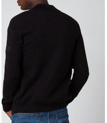 barbour international men's baffle zip through jacket - black - m - black