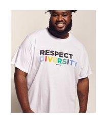 "camiseta masculina pipe plus size respect diversity"" manga curta gola careca branca"""
