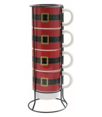 american atelier santa's belt 5 piece mug set w/ metal rack