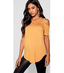 basic cold shoulder curved hem t-shirt, mustard