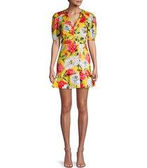 minna floral puff-sleeve flare dress
