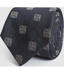 reiss matera - silk blend medallion tie in charcoal, mens
