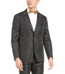 tallia men's charcoal tonal animal print dinner jacket