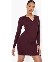 geribbelde gebreide jurk met kraag, wine