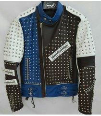 made to order full studded biker leather coat jacket multicolor unique design