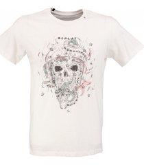 replay zacht wit t-shirt valt 1 maat kleiner