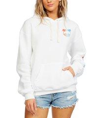 women's billabong freedom of '73 graphic hoodie, size medium - white