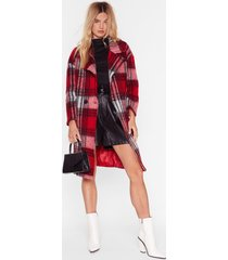 womens sorry just in a brushed oversized check coat - red