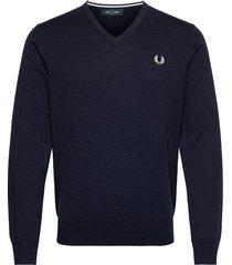 classic v/n jumper stickad tröja v-krage blå fred perry