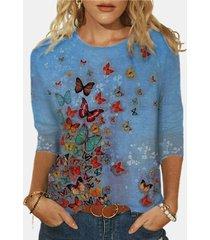 camicetta in cotone con stampa farfalle o scollo a manica lunga plus