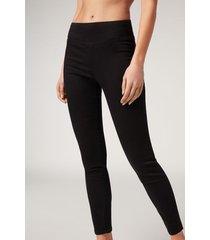 calzedonia skinny thermal denim leggings woman black size m