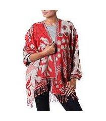 wool shawl, 'modern red jamawar' (india)