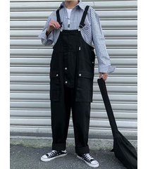 babero de bolsillo suelto estilo coreano para hombre pantalones liguero casual mono