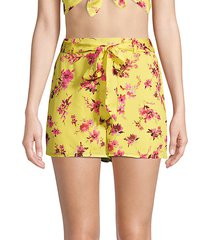 the cluda floral silk georgette shorts
