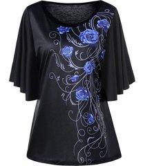 plus size tiny floral drape sleeve t-shirt