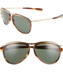women's ray-ban 59mm aviator sunglasses - gold havana/ green solid