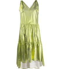 8pm metallized flared dress - green