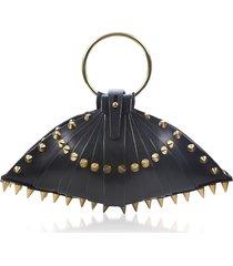 una burke designer handbags, black leather warrior shell bag