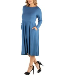 24seven comfort apparel midi length fit n flare pocket plus size dress