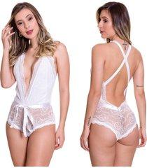 body em renda estilo sedutor transparente com fita branca - lb1111 - branco - feminino - renda - dafiti