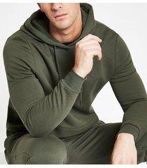 river island mens khaki slim fit long sleeve hoodie