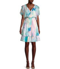 parker women's bondi tie-dye smocked dress - pastel swirl - size xs