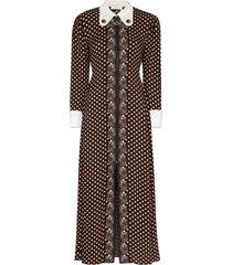 chloé art deco polka dot print dress - brown