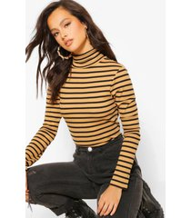 stripe high neck long sleeve top, camel