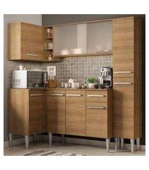 cozinha completa de canto madesa emilly face com balcão e armário vidro rustic rustic