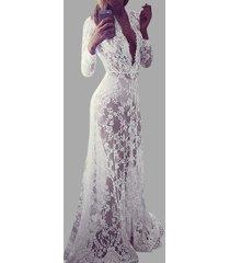 vestidos de manga larga de encaje blanco v profundo cuello
