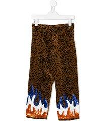 caroline bosmans sequinned flames trousers - brown