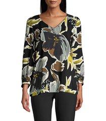 lafayette 148 new york women's arnette floral blouse - black multi - size xs