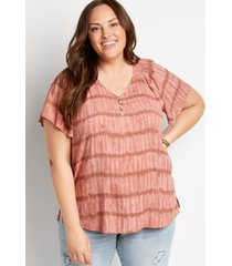 maurices plus size womens mauve tie dye flutter sleeve button front top pink