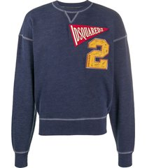dsquared2 logo-patch drop-shoulder sweatshirt - blue