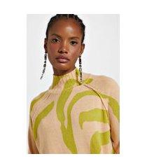 blusa de tricot pull zebra nude lace
