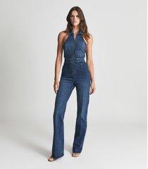 reiss pennie - denim halterneck jumpsuit in blue, womens, size 12