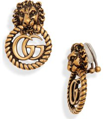 gucci lion head double-g clip-on earrings in silver/crystal at nordstrom