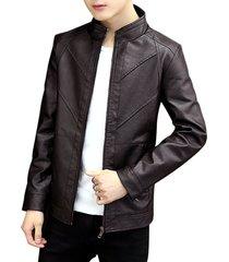 autumn motor seam zipper pu jacket