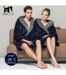 men women luxury winter thick flannel hooded long bathrobe lounge pajamas