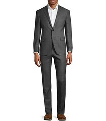 classic fit windowpane wool suit