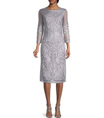 js collections women's embroidered sheath dress - silver - size 2