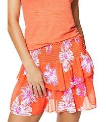floral-print shirred skirt
