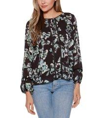 belldini black label floral long blouson sleeve scoop neck top